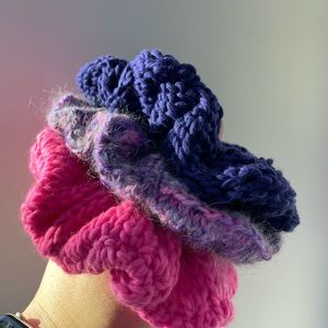 Set of 3 hand knit scrunchies